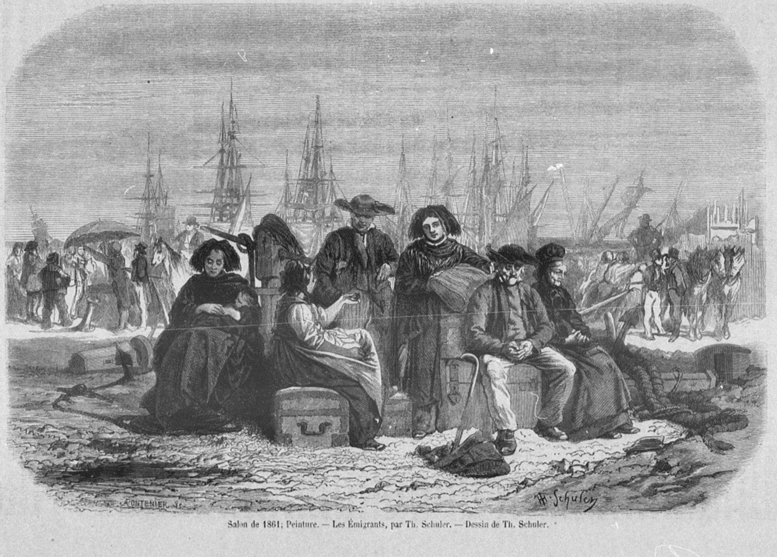 Les Emigrants ,  Pontenier, Auguste (1820-1888). Graveur | Schuler, Théophile. Dessinateur, Bibliothèque nationale de France , Public Domain Mark